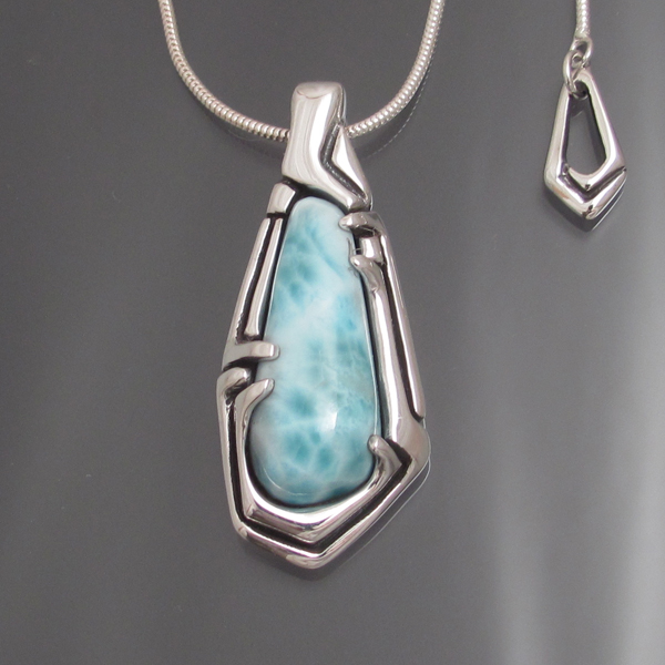 "Larimar & Sterling Pendant  20"" adjustable length chain Approximately 1 1/2"" x 3"